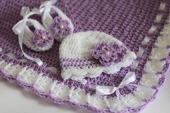 Crochet Baby Blanket / Afghan Hat and Booties Lavender with White Granny Square Crochet, Baby Shower Gift Baby Girl Set
