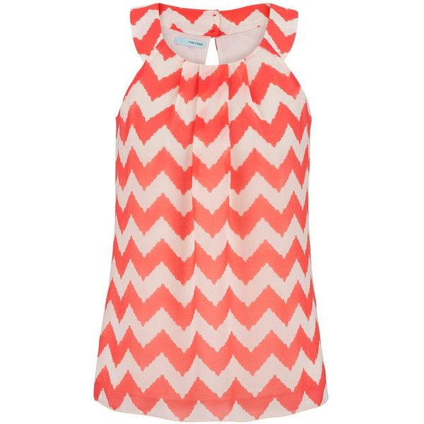 chevron stripe chiffon tank ($26) ❤ liked on Polyvore featuring tops, shirts, tanks, chevron shirt, red tank top, shirts & tops, chiffon top and red tank