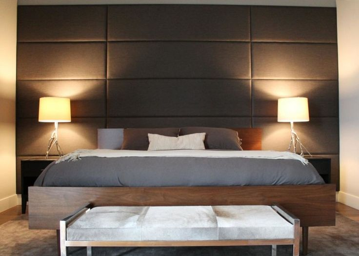 Interior, Elegant Upholstered Wall Panels Design Ideas Full Size Gray Leather Upholstered Headboard Wall Panel Combined With White Shade Table Lamp On Black Solid Wood Bed Side Table As Well As Silk Upholstered Wall Panels Also Upholstered Wall Panels