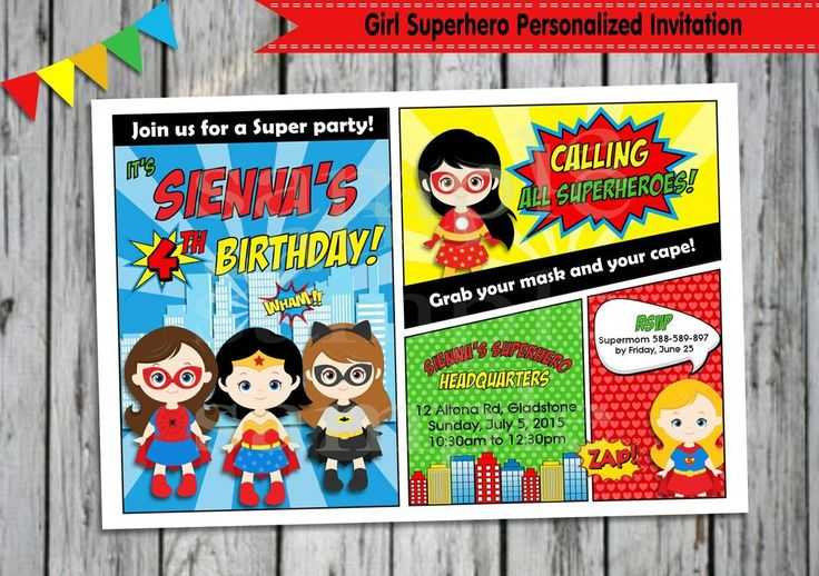 GIRL SUPERHERO PERSONALISED INVITATIONS CARDS BIRTHDAY INVITES COMIC BOOK #custominvitations #BIRTHDAYPARTIES