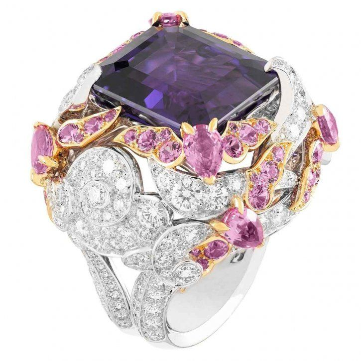 Bianfu ring, Palais de la chance collection in white gold, diamonds, pink gold, pink sapphires, one 23.34-carat emerald-cut purple sapphire by Van Cleef & Arpels