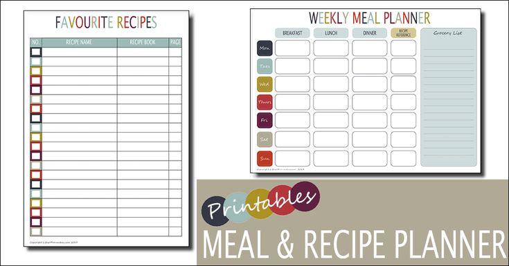 Weekly Meal Planner Template | Free Printable