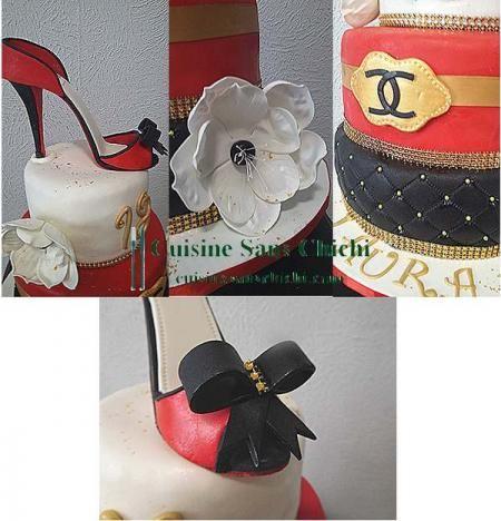 Gâteau thème : Escarpin Chanel Toute la décoration, ainsi que l'escarpin est réalisés à la main en pâte à sucre. Tout dans ce gâteau est comestible sauf les tours du gâteau en strass et le galon doré.
