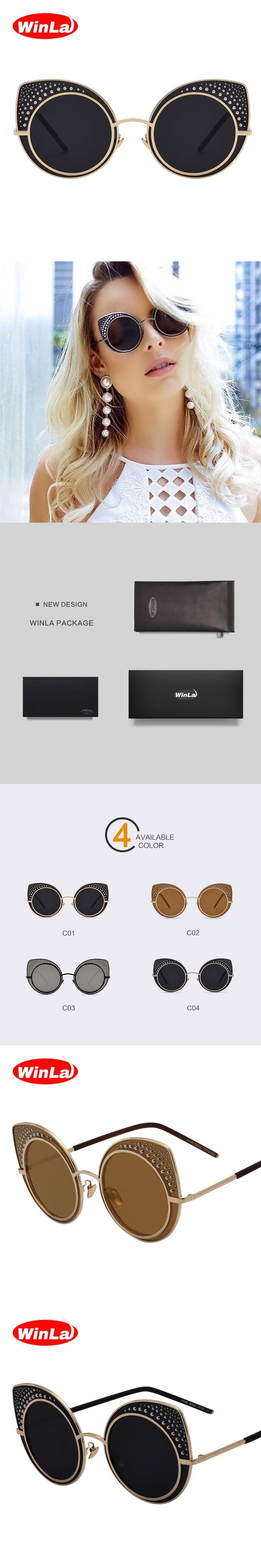 Winla Fashion Cat Eye Sunglasses Women Classic Brand Designer Vintage Coating Sunglasses Female lentes de sol mujer UV400 WL1045
