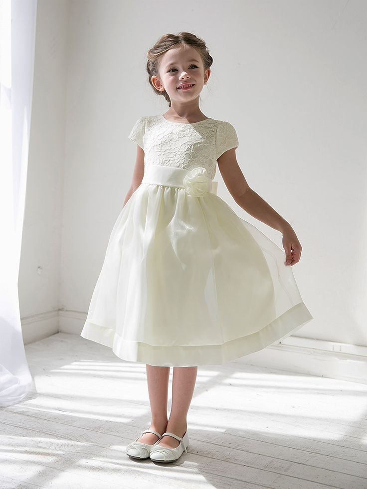 Nectarean Short Sleeves Lace&Organza Flowergirl Dresses with Ribbon