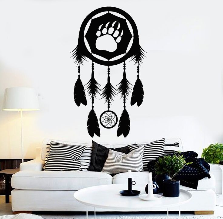 Vinyl Wall Decal Dreamcatcher Paw Bear Tribal Bedroom Stickers Unique Gift (ig4049)