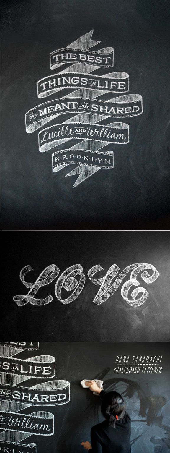 Some chalkboards for the coffeeshop to write info.  a chalkboard for customers to write messages.. Source: Besotted Blog: DANA TANAMACHI| CHALK LETTERING