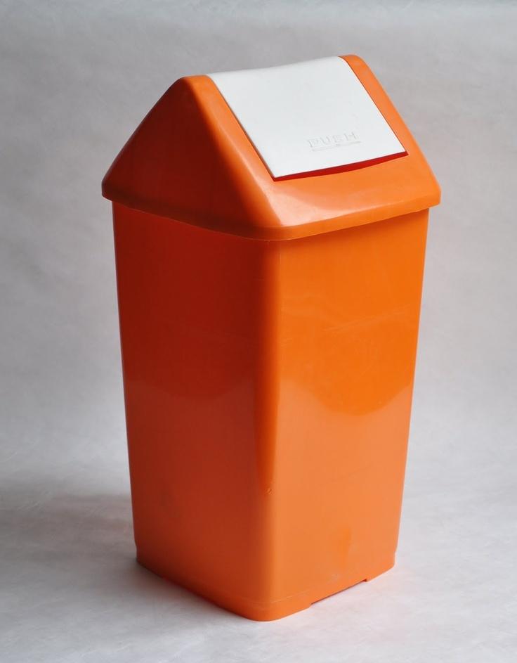 lionel suttie: #orange nylex kitchen garbage can #1970s
