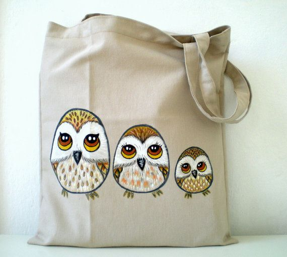 Owl Tote Bag Hand Paint Cotton Owl Bag / unique by ShebboDesign, $35.00