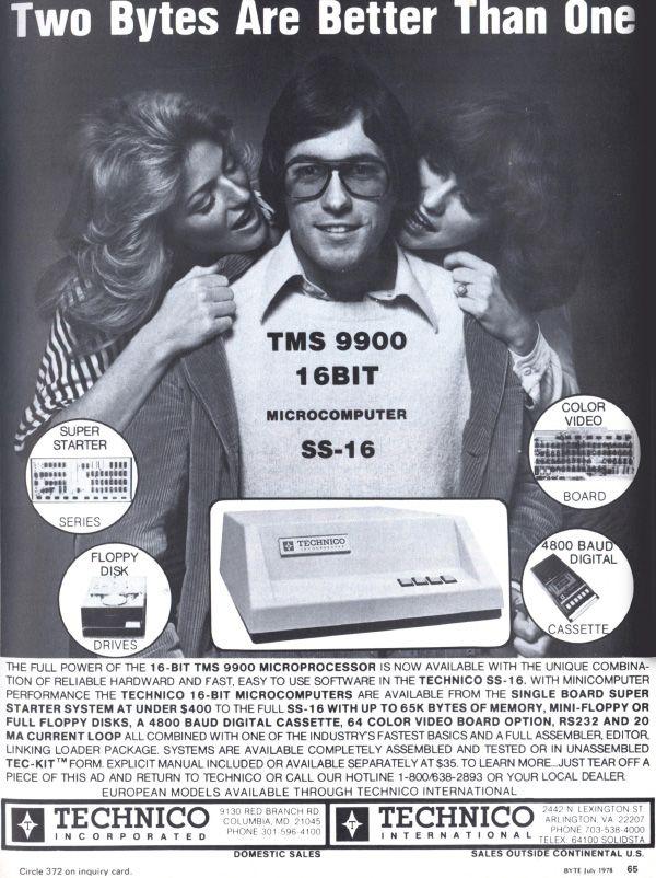 """Pouvait être dans deux catégories : """"l'image glorieuse de la femme dans la pub"""" et """"histoire de l'ordinateur personnel""""   Two Bytes Are Better Than One (Jul, 1978)"""