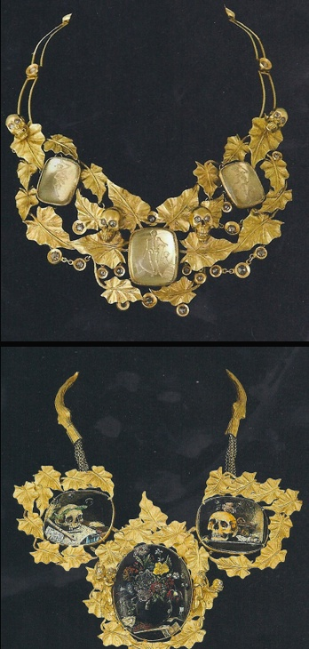 """Necklace with three medallions, each grave of a skeleton dancing, connected by a profusion of ivy leaves which appear in the middle of four small skulls with diamond eyes measuring approximately 17 inches. Two of them, at the ends of the collar, give the illusion of a Pierrot collar with his sheet. Gold, diamonds, rock crystal intaglio. Codognato Private Collection. On exhibition in Paris at the Musee Maillol, """"C'est la vie! Vanites – De Pompei a Damien Hirst"""" (CW19-4)"""