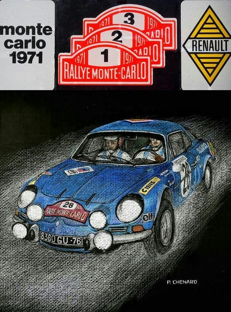 1971 Monte Carlo Rally ~ Renault-Alpine A110's swept the podium at the 1971 Monte Carlo Rally. The A110 achieved international fame during the 1970–1972 seasons and was considered one of the strongest rally cars of its time. Notable performances from the car included Swedish driver Ove Andersson's victory in the 1971 Monte, with his teammates finishing P2 & P3. Artwork by Paul Chenard