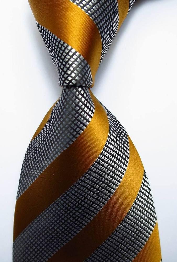 New Classic Striped Gold Black White JACQUARD WOVEN 100% Silk Men's Tie Necktie #Handmade #NeckTie