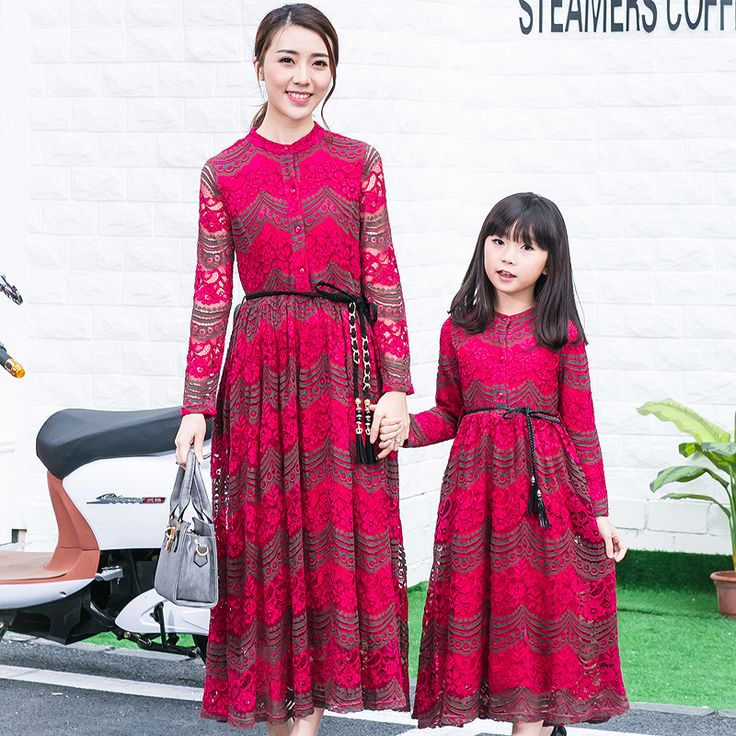 Party Dresses spring Family Matching Outfits Mother And Daughter lace long Dress Parent-Child party Bohemia Clothes Mum and me