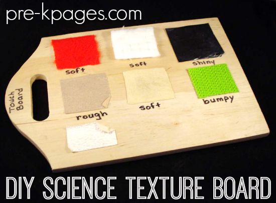 How to make a DIY Science texture board using a wood cutting board from the dollar store, plus a free printable for your science center.