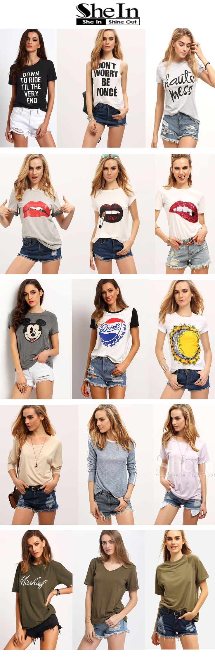 "What kind of tops do you prefer for cozy summer days? Lovely lip print t-shirt, tumblr funny tee, cool print graphics, or just plain casual tshirt? My answer is "" all of them "" !"