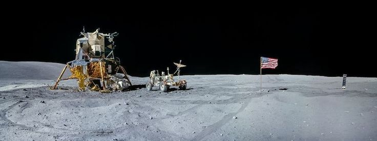Panoramic image from Apollo 16, stitched with eight photos.