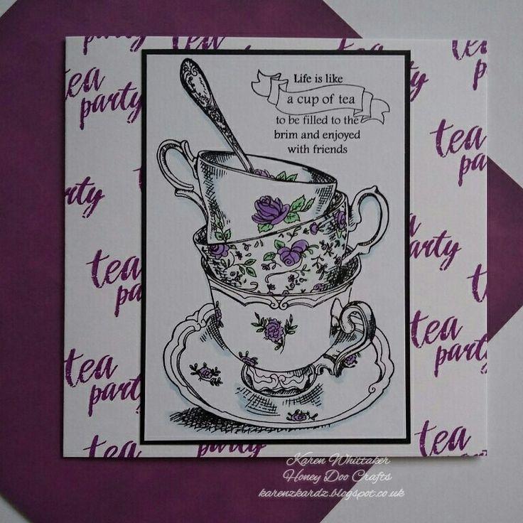 Time For Tea stamp set by Honey Doo Crafts  #honeydoocrafts #dtsample #timefortea #tea #cups #kuretakezig #stamps #stamping #card #creative #craft #ilovetocraft #creativity #karenzkardz