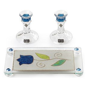 Crystal Shabbat Candlesticks with Bold Blue Décor and Tray