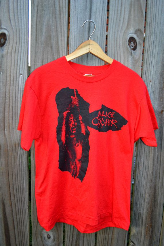 Vintage Alice Cooper Live In The Flesh tour tshirt With Concert Tickets original 80s