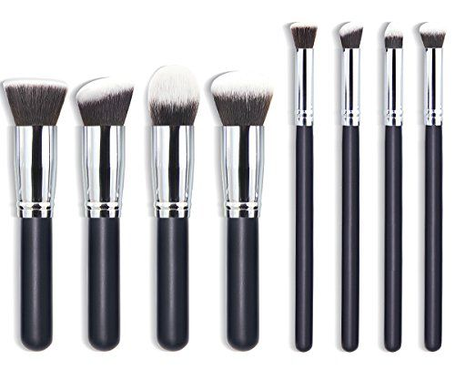 cool EmaxDesign Premium Synthetic Kabuki Makeup Brushes Set Cosmetics Foundation Blending Blush Eyeliner Face Powder Brush Makeup Brushes Kit (8pcs, Silver Black)