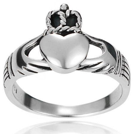 Brinley Co. Women's Sterling Silver Claddagh Ring, 3mm, Size: 6