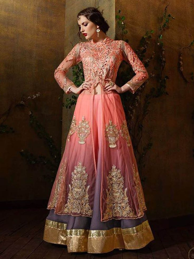 Peach Color Heavy Embroidery Work #Anarkali #Salwar #Kameez Suit for Eid