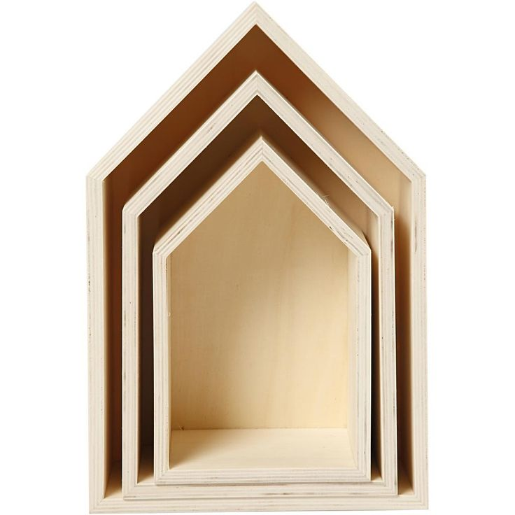 Si tratta di una serie di 3 casa a forma di scatole di immagazzinaggio - effettuate in semplice legno davvero incantevoli. Ci sono tre caselle in set di misura:  Piccolo - 13cm di larghezza x 20,3 cm alta x 10 cm di profondità Medium - 16,2 cm larghezza x 25,3 cm alta x 10 cm di profondità Large - 20cm x 31 vasta x 10 alta profondità cm  Le caselle di sedersi allinterno di uno altro - così possono essere impilate via quando non serve.  Perfetto per la creazione di stoccaggio domestico…