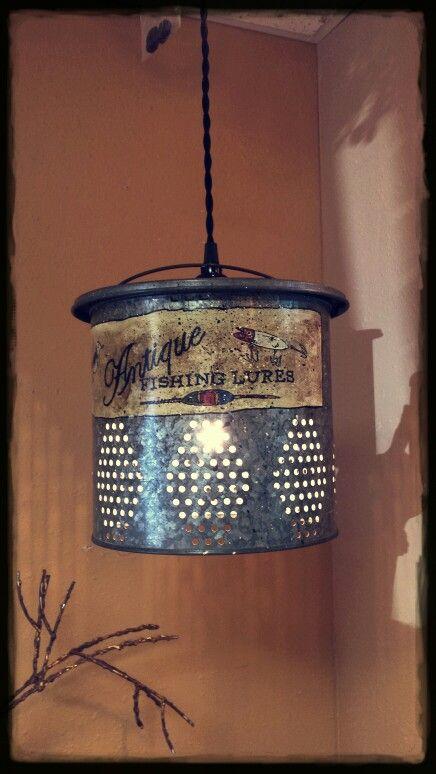 Minnow Bucket Pendant Light Unique Cross Grains Cabin Lighting Home Lighting Basket Lighting