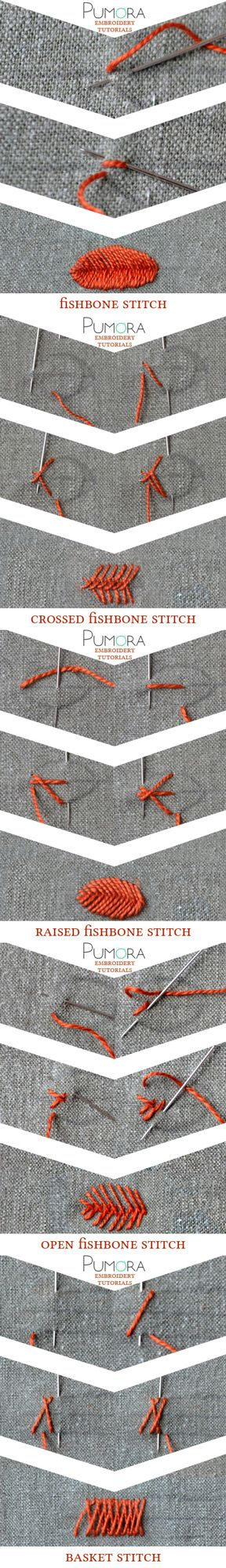 Pumora's embroidery stitch-lexicon: the fishbone stitch