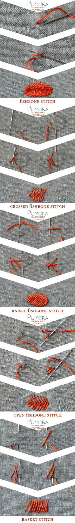 Pumora's embroidery stitch-lexicon: the fishbone stitch