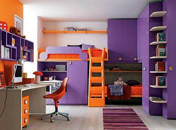 cool girls bedroom decoration with orange bed beside purple cabinet plus striped rug on wooden floor including also study table under purple bookcase on the bedroomastounding striped red black striking
