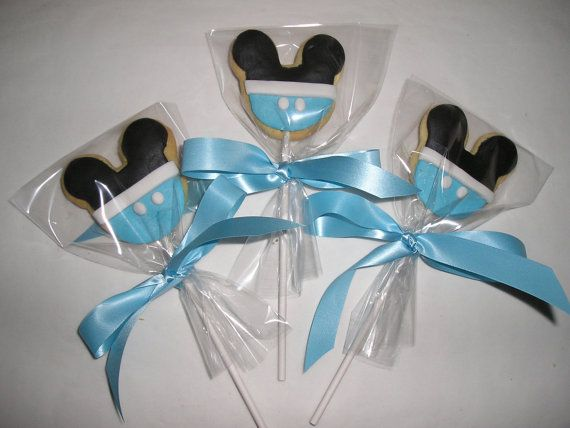 6 Baby Blue Mickey Mouse Cookie Lollipops By YummyYummySugarShop