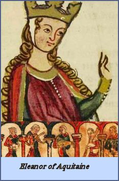 .Eleanor of Aquitaine-One of history's hellraising queens, Eleanor was first mistress to her uncle, Raymond of Poitiers, Prince of Antioch (this occurred while she was on the Second Crusade--Hubby--otherwise known as King Louis Vll of France was NOT amused), Geoffrey of Anjou, and later his son, Henry Plantagenet (who became Henry ll of England--Eleanor, divorced from Louis, became Henry's queen)...A very busy lady...