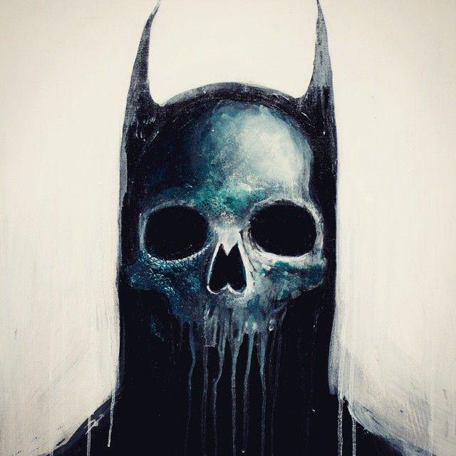 BATMAN SKULL ACRYLIC PAINTING