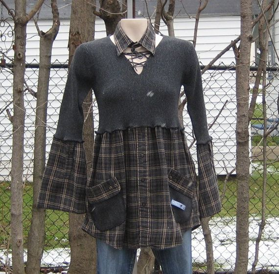 Upcycled Babydoll Tunic Upcycled Clothing Recycled by AnikaDesigns, $38.00