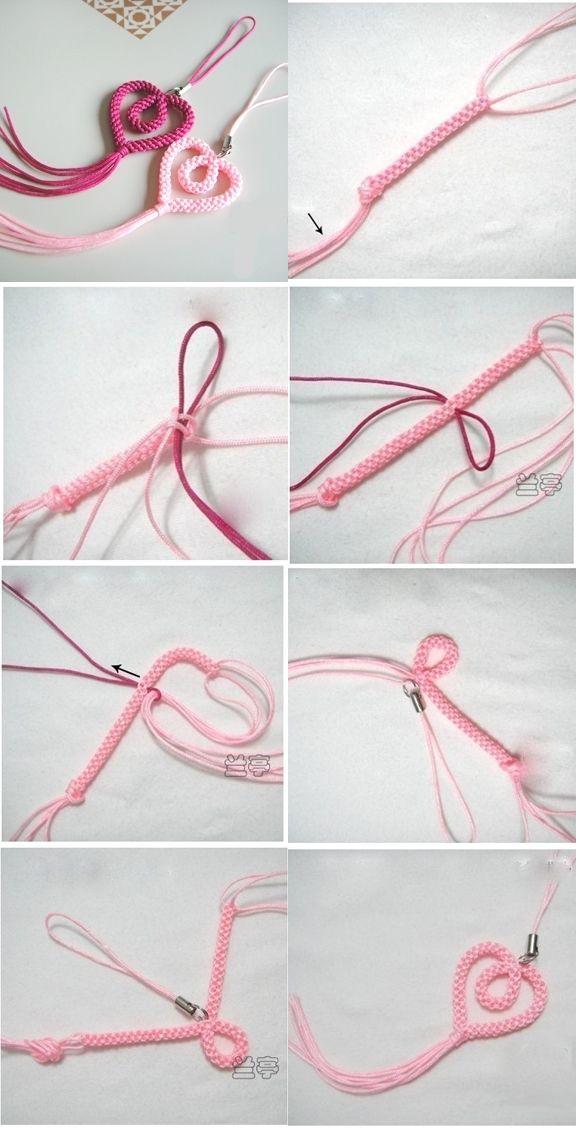 DIY Woven Heart Shaped Phone Chain | www.FabArtDIY.com LIKE Us on Facebook ==> https://www.facebook.com/FabArtDIY
