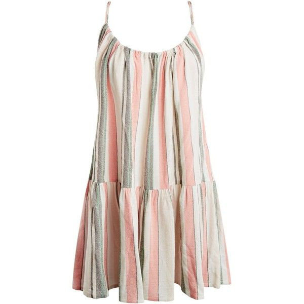 Topshop Stripe Swing Dress ($36) ❤ liked on Polyvore featuring dresses, white, striped beach dress, viscose dresses, stripe dress, white tent dress and white striped dress