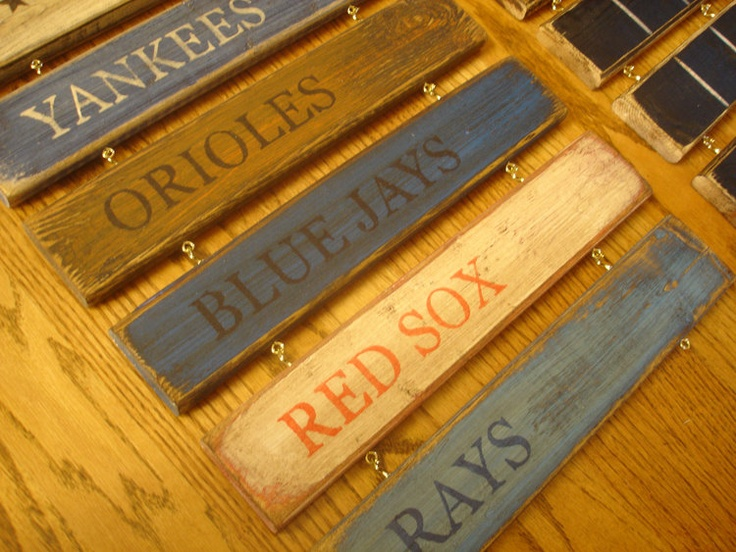AL East standings board New York Yankees by MyRusticBoardSigns, $79.00