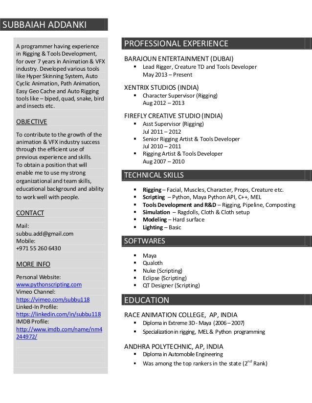 Resume Format Vfx Freshers Artist Resume Resume Format For Freshers Resume Format