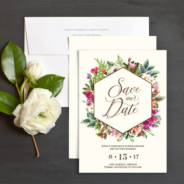 Bronze Floral Frame Save The Date Cards by Emily Buford | Elli
