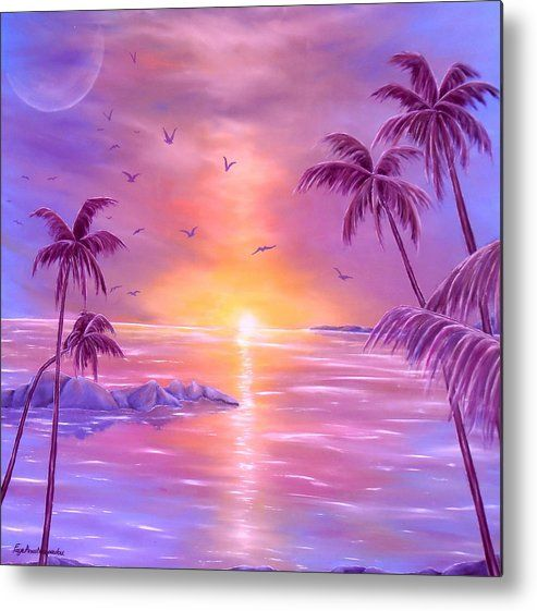 Metal Print,  island,coastal,scene,tropical,sunset,sunrise,seascape,ocean,water,palmtrees,impressive,bright,calm,summer,fantasy,purple,violet,mauve,lavender,gold,golden,multicolor,colorful,beautiful,image,fine,oil,painting,contemporary,scenic,modern,virtual,deviant,wall,art,awesome,cool,artistic,artwork,for,sale,home,office,decor,decoration,decorative,items,ideas