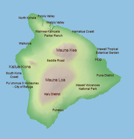 Clickable Map of the Big Island of Hawaii, Hawaii's Island of Adventure - Click on Hilo