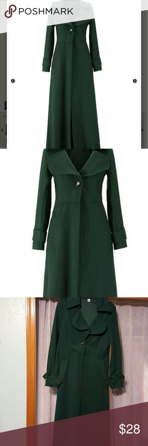 Awesome long overcoat Forest green, button details at cuffs and shoulders and back, one button closure,  55 inches from shoulder to hem, never worn boutique  Jackets & Coats