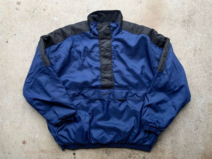 Nike Puffer Jacket Vintage 90s Kangaroo Pouch Zip Up VTG Embroidered Swoosh Logo Windbreaker Winter Coat Blue / Black Size XXL