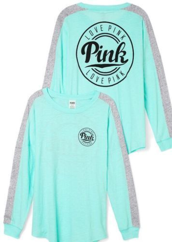 Victoria's Secret Pink Aqua Mint Heather Gray Black Logo Varsity Crew Tee - Med #VictoriasSecretPink #GraphicTee