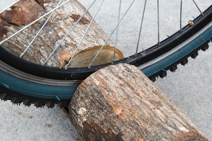 How+to+Make+a+Log+Bicycle+Stand+--+via+wikiHow.com