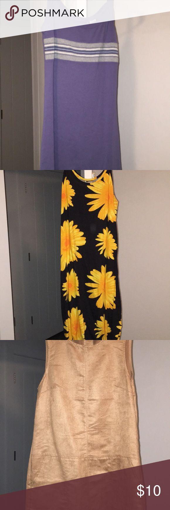 Dresses 👗 Small: 1990's Jennifer Aniston kind of dress - grayish blue w/ stripes - short dress - $5, Medium: Sunflower long dress - $5, Size 8 - Forever 21 - Light brown soft velvety dress w/ pockets - never worn - $10, Small: Forever 21 - short tank top flower dress (never worn) - $10 Dresses
