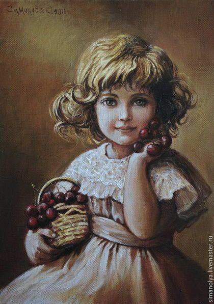 Люди, ручной работы. Ярмарка Мастеров - ручная работа. Купить Девочка с вишенками. Handmade. Коричневый, подарок женщине, картина маслом