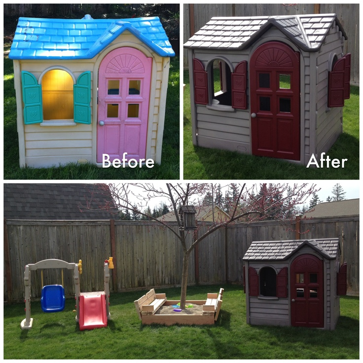 Little Tikes Playhouse Makeover | We Got This Playhouse For Free From A  Family Member And